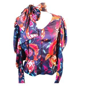 Bebe Multicolored floral blouse long sleeves size6